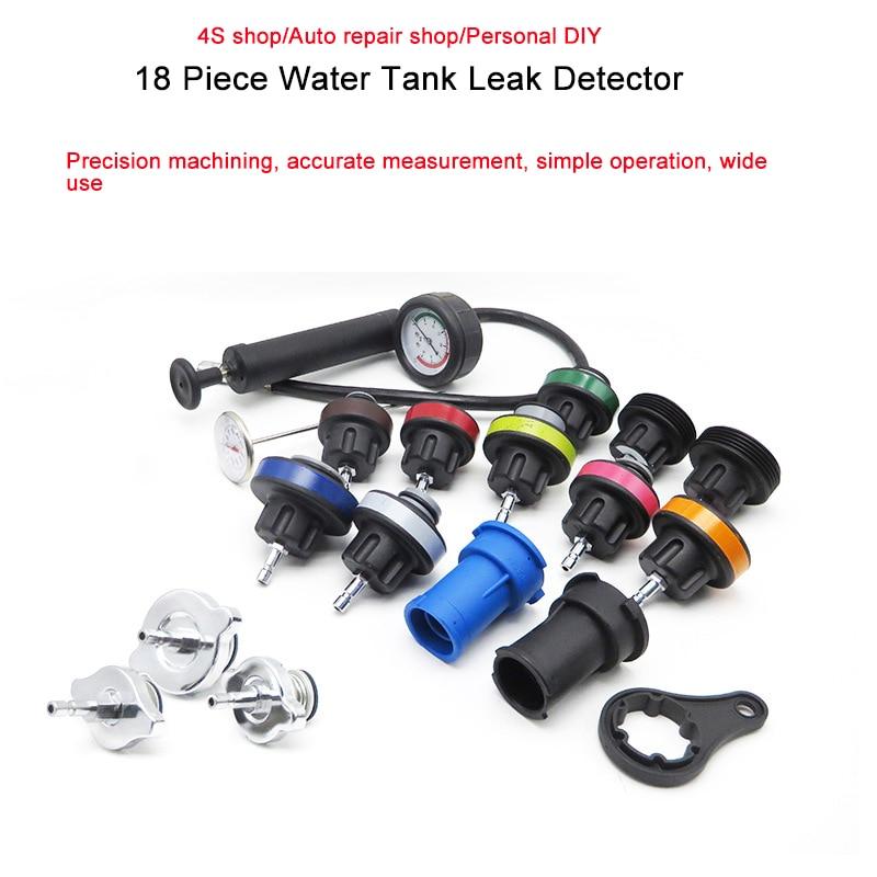 18pcs Car Water Tank Leak Test Tool Leak Detection Instrument Auto Repair Testing Equipment Pressure Gauge Pumping Instrument