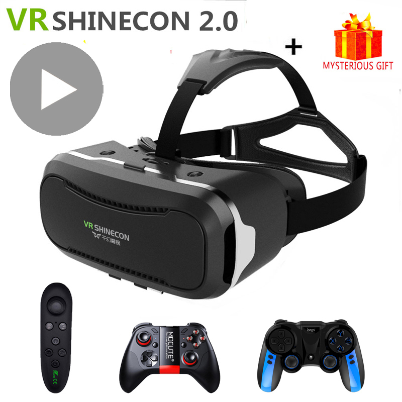 VR Shinecon 2.0 2 VR Casque Headset Video 3 D 3D Virtual Reality Glasses Goggle For iPhone Android Smartphone Helmet Smart Phone