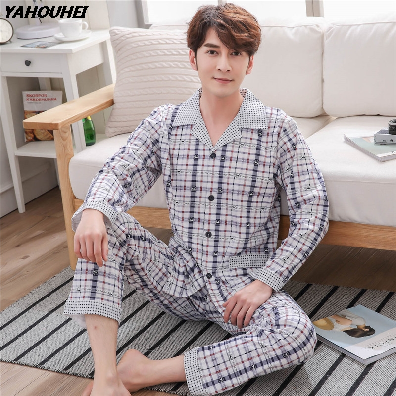 Cotton Casual Plaid Pajama Sets For Men 2018 Autumn Winter Long Sleeve Soft Comfortable Pyjama Male Homewear Lounge Home Clothes