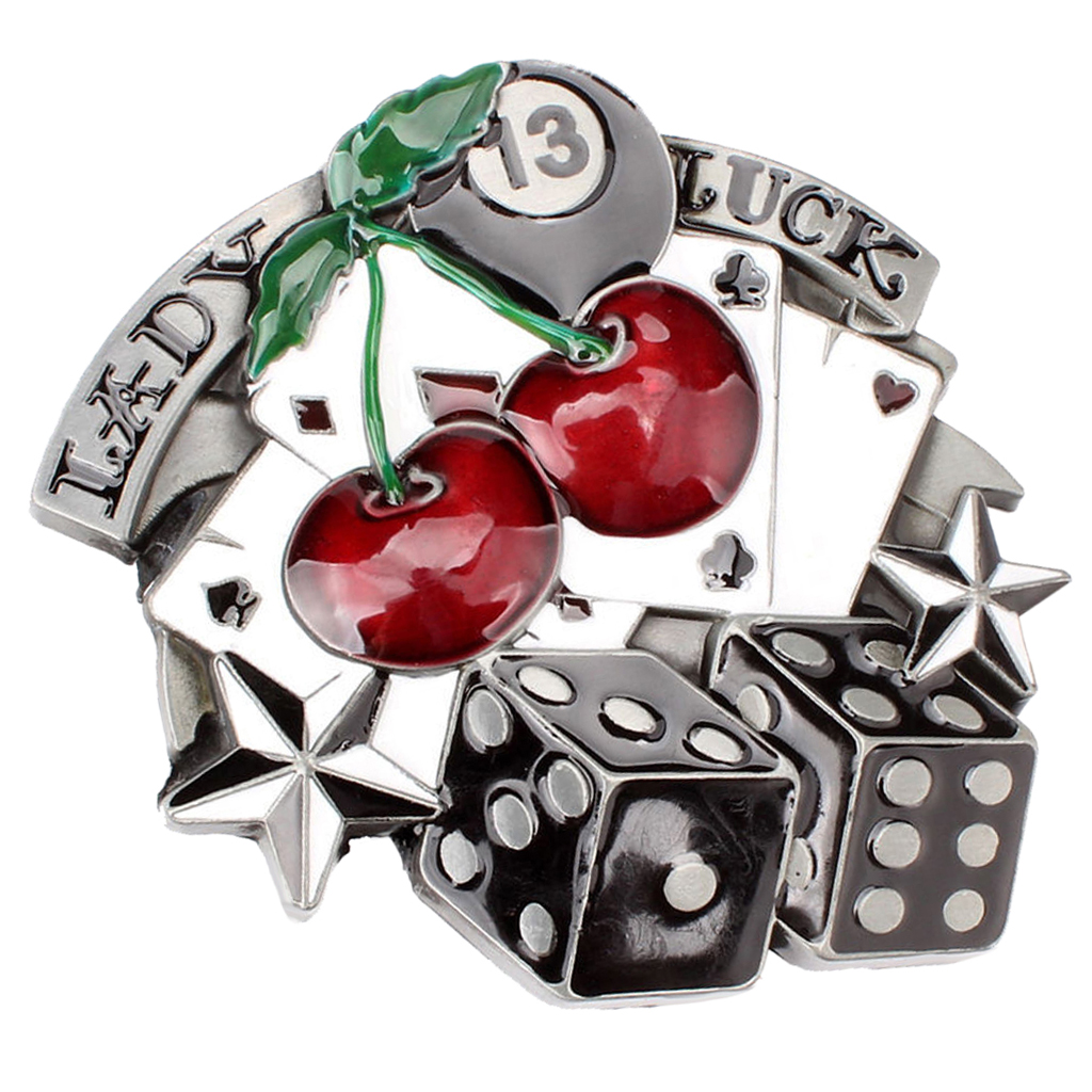 Dice Cherry Lady Luck Pattern Cowgirl Western Belt Buckle Woman's Gift