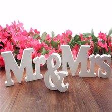 1 juego/3 uds. Blanco Estilo Vintage Señor y Señora letras de madera rústico signos de boda para mesa de boda foto accesorios boda decoraciones