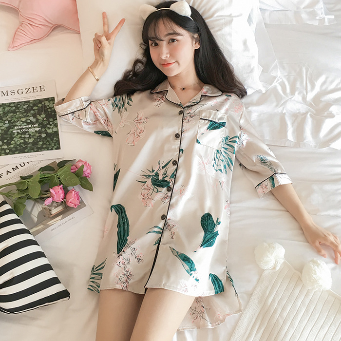 Viscose Nightgown Women's Summer Cardigan Pajamas Summer Korean-style Fresh Students Model Silk Thin Home Wear