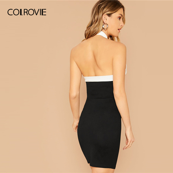 COLROVIE Black Contrast Halterneck Bodycon Dress Women Sleeveless Sexy Backless Mini Dress 2020 Slim Elegant Pencil Dresses 1