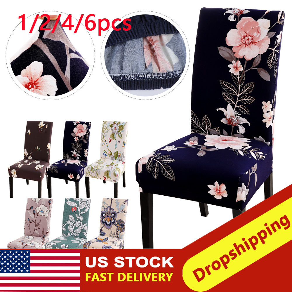 1/2/4/6pcs Printed Dining Chair Cover Slipcover Modern Removable Anti-dirty Kitchen Seat Case Stretch Chair Cover For Banquet