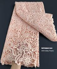 Tissu en dentelle Guipure, broderie très soignée, peau douce, 5 Yards, cordon de cupidon, à la mode, moderne, traditionnel, d'inspiration africaine occidentale