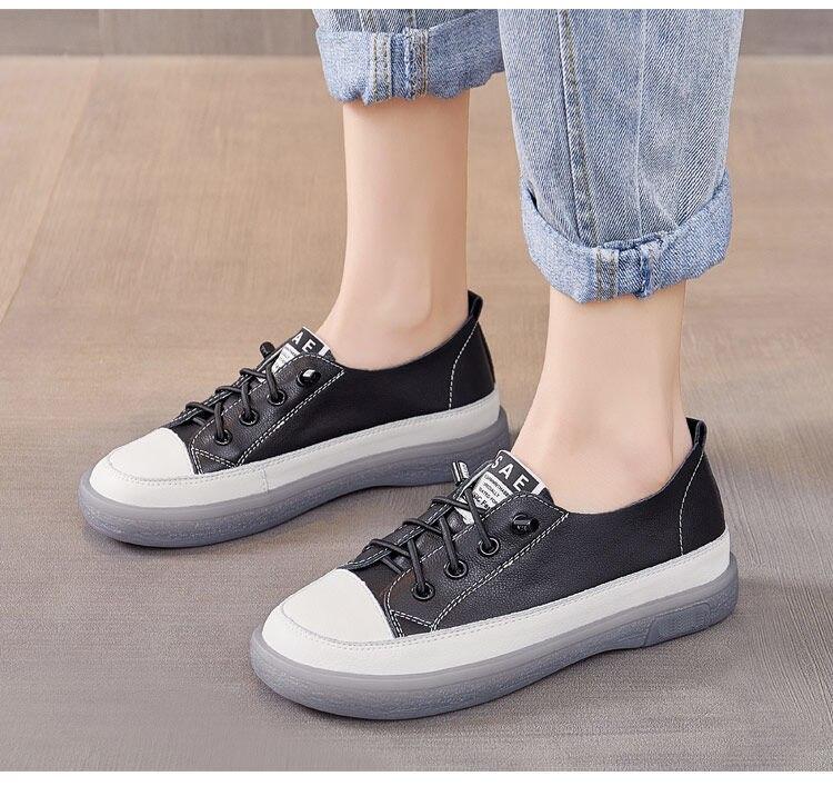 primavera verão novos sapatos casuais sapatos de couro genuíno sapatos brancos