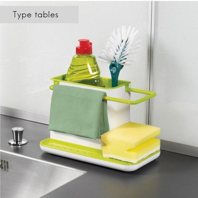 Storage Shelf Sponge Holder Draining Sink Box Kitchen Organizer Draining Rack Dish Storage Rack Stands Tidy Utensils Towel Rack 5