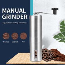 Srebrny młynek do kawy Mini instrukcja obsługi ze stali nierdzewnej ręcznie młynki do kawy Burr młynki młynek do narzędzi kuchennych tanie tanio CN (pochodzenie) STAINLESS STEEL Zmywalna