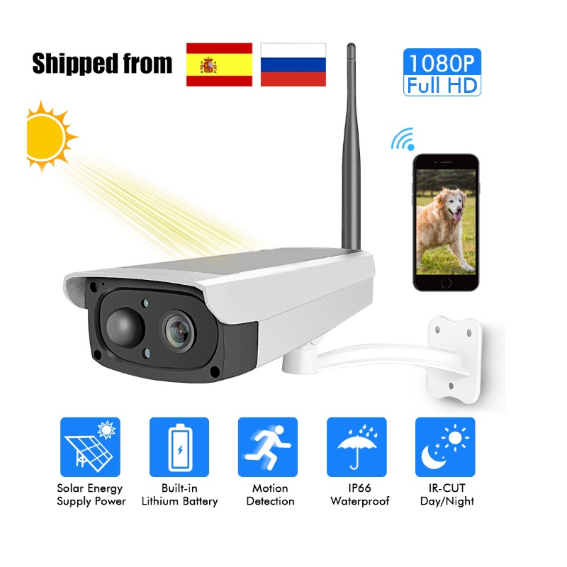 Full HD 1080P Solar Power IP camera wireless 2MP Waterproof Outdoor solar panel