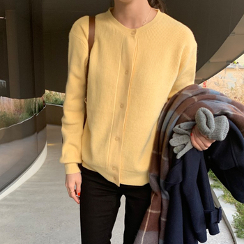 Ailegogo Women Sweater New Spring Casual O-neck Single Breasted Female Cardigans Knitted Loose Fit Ladies Tops Knitwear 3