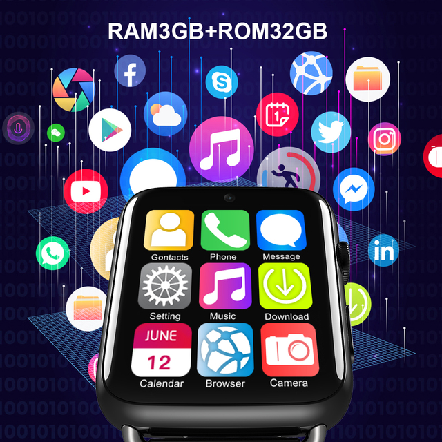LEMFO LEM10 4G Smart Watch Android 7.1 GPS Bluetooth WiFi 1.88 Inch Screen 780mah Battery 3GB 32GB For Android Iphone Pre-sale