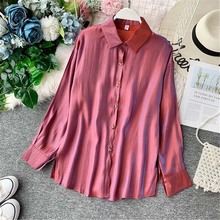 NiceMix Shirts Women Autumn 2019 Pure Collar Loose Long Sleeve Sunscreen Top Fashion Female Lapel Blouse Blusas Lady Tops