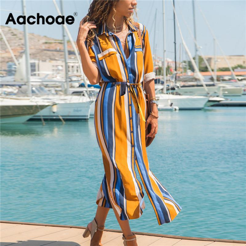 Aachoae Turn Down Collar Office Ladies Stripe Shirt Dress Long Boho Beach Dress Casual Long Sleeve Elegant Party Dress Vestidos