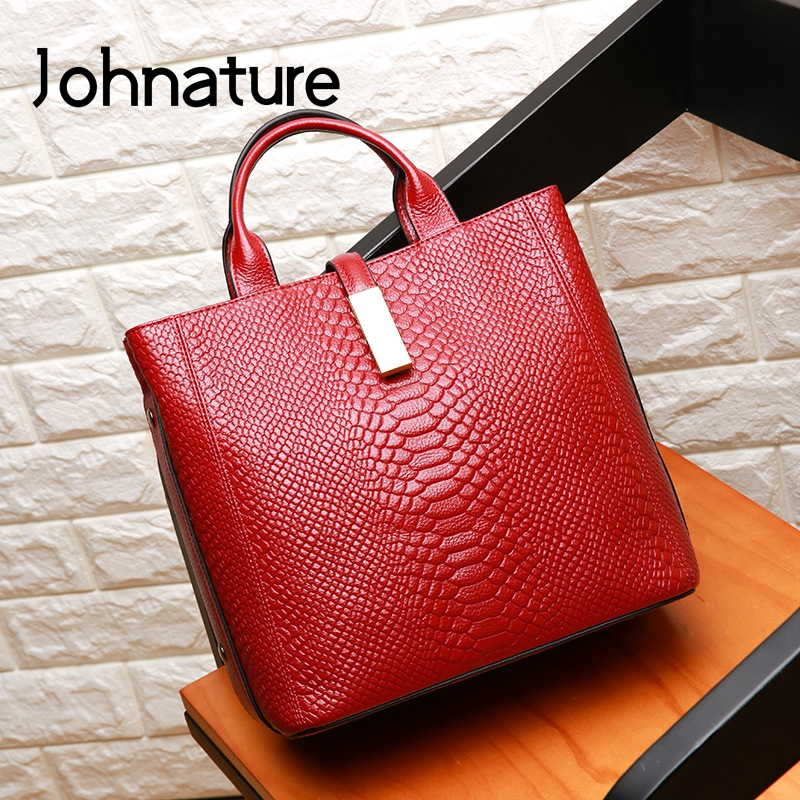 Johnature Luxury Handbags Women Bags Designer New Genuine Leather Fashion Alligator Large Capacity Soft Cowhide Shoulder Bags