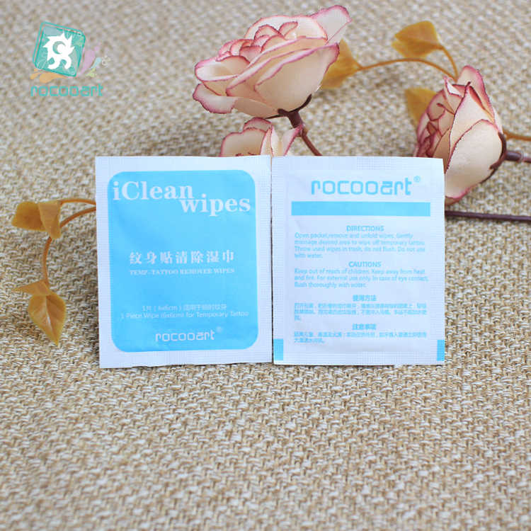Rocooart 5 個のタトゥーリムーバークリーニングワイプ除去パッド水彩一時的なフェイクタトゥー臭い快適な環境に配慮