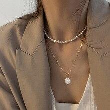 Новинка 2021 винтажное неправильное жемчужное ювелирное изделие позолоченная массивная цепочка многослойное ожерелье для женщин женское же...