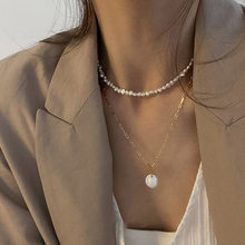 2021New Vintage Irregular Pearl Jewelry Gold Plated Chunky Link Chain Layered Necklaces for Women Ladies Pearl Necklace