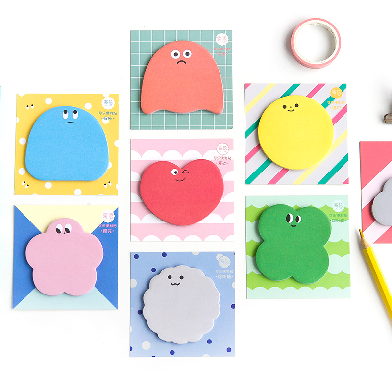 SIXONE 30 Sheets Creative Cartoon Sugar Bean Sticky Note Funny Expression Message Notebook Kawaii Stationery Memo Pad