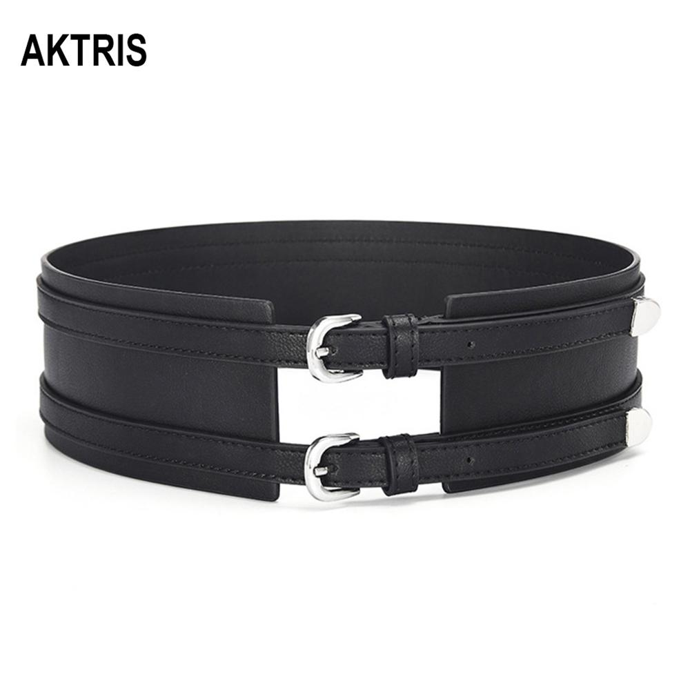 AKTRIS Ladies Casual Retro Black Overcoat Decorative PU Leather Belts For Women Type Fashion Waistband Double Belt FCO146