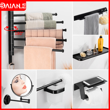Towel Holder Black Aluminum Towel Bar Set Towel Rack Hanging Holder Toilet Paper Holder Wall Bathroom Shelf Robe Hook Coat Rack stainless steel towel bar sets brushed gold towel holder towel rack hanging holder toilet paper holder coat hook bathroom shelf