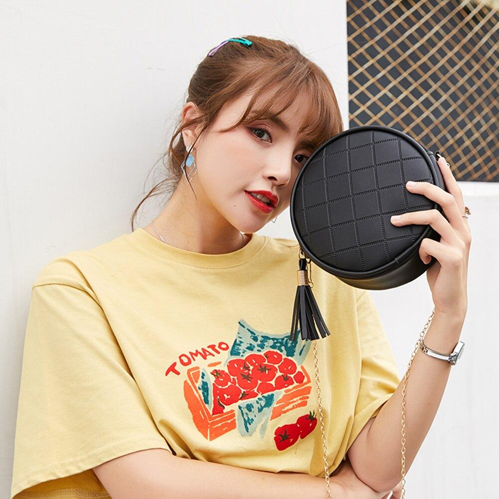 Solid Color Mini Round Shoulder Bag For Women Bolsas Plaid Messenger Handbags Small Round Tassel Crossbody Bags Purses Clutches