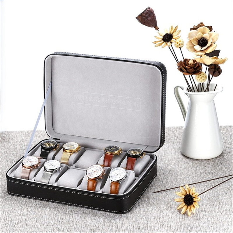 2019 Hot Special For Travel  Sport Protect 10 Grids PU Leather  Wristwatch Box CaseZipper Travel Watch  Jewelry Storage Bag Box