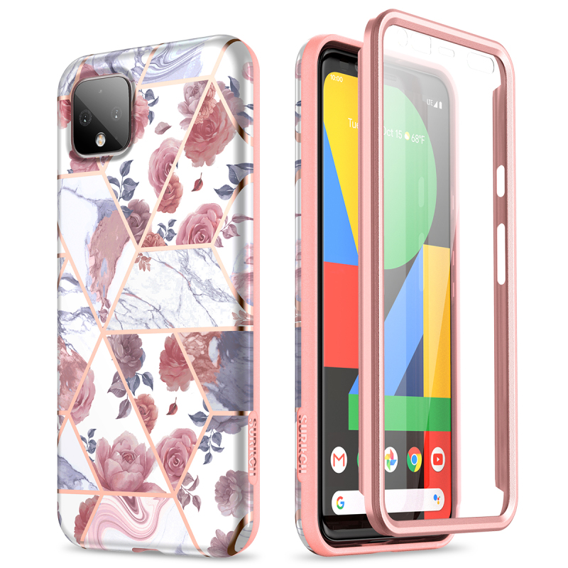 2 In 1 Soft Case For Google Pixel 4 Case With Screen Protector Shockproof Flower Case Cover For Pixel 4 XL Capa Coque Cover