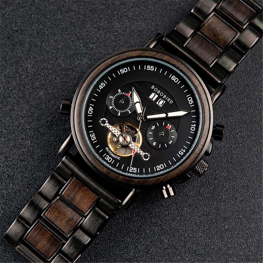 Men Top Watch BOBO BIRD Wooden Automatic Mechanical Wristwatch Luxury Fashion Auto Date Chronograph Luminous Hands relogio Gift