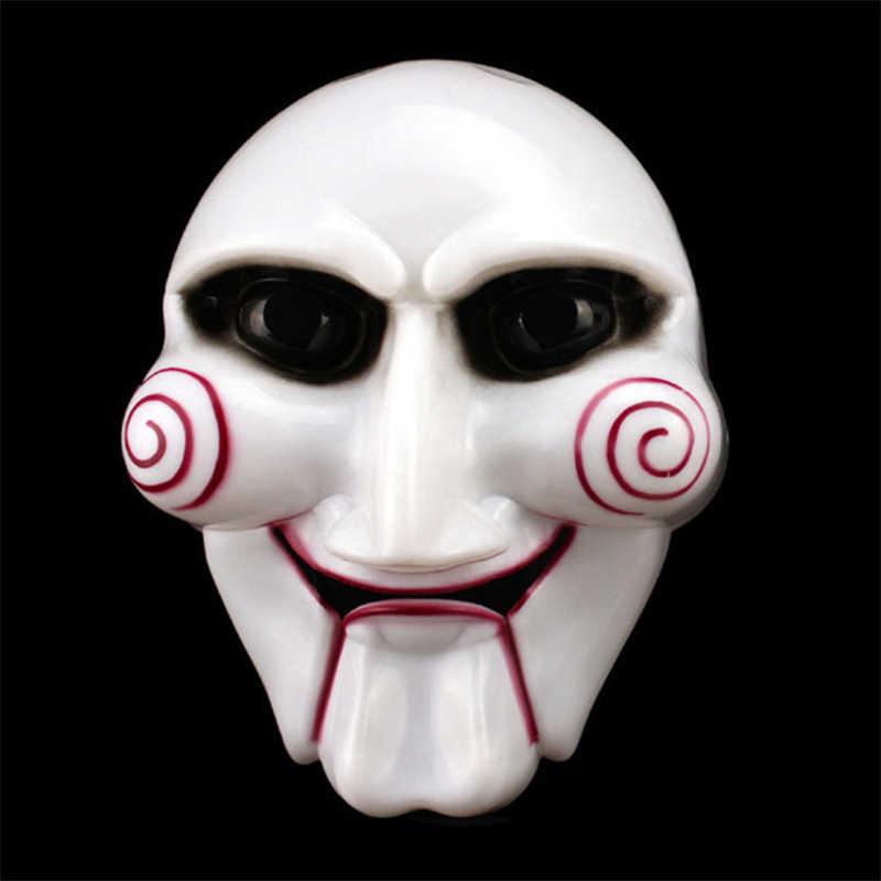 ปาร์ตี้ฮาโลวีนคอสเพลย์ SAW Puppet Mask ยอดนิยม Masquerade เครื่องแต่งกาย Billy จิ๊กซอว์ Props หน้ากากรื่นเริงบรรยากาศอุปกรณ์