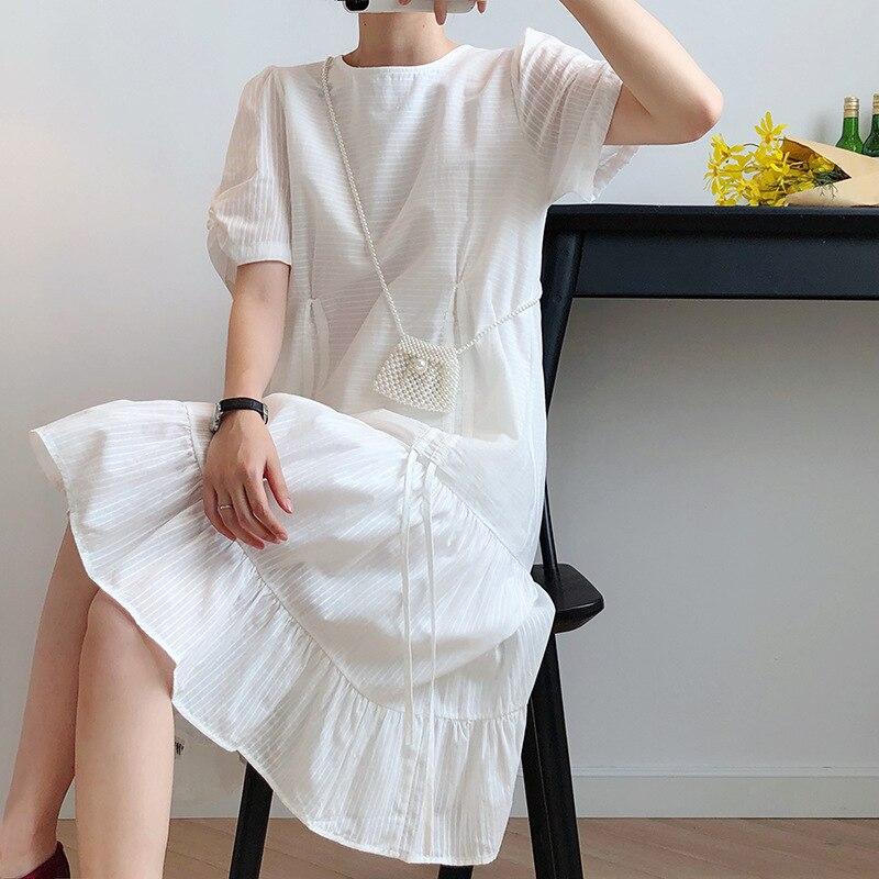 2020 New Women O-Neck Pure Color White Boho Midi Dress Puff Sleeve Ladies Summer Cotton Dress Bohemian Vestidos