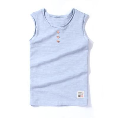 VIDMID New Baby Children vests summer boys Girls tanks sleeveless t-shirt Cotton solid tanks kids boys  beach clothes 7010 07 3