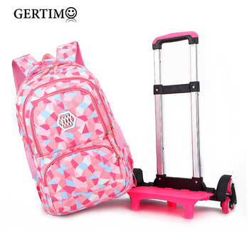 Children Orthopedic School Bags with 2/6 Wheels  for Girls Removable Trolley Backpack Kids Wheeled Satchel  Travel Luggage Bags kids boys girls trolley schoolbag luggage book bags backpack latest removable children school bags with 2 wheels stairs