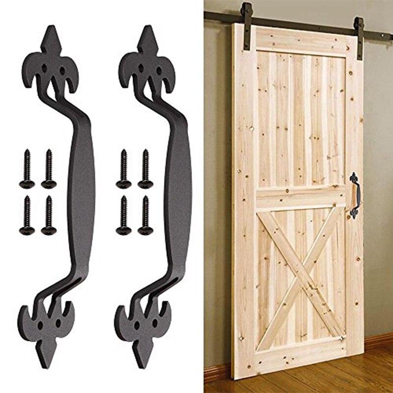 Ev Dekorasyonu'ten Kulp setleri'de 2 adet 11 inç kayan ambar kapısı kolu Vintage ağır çekme seti kapı mutfak mobilyası dolap dolap çekmece vidalar Inclu title=