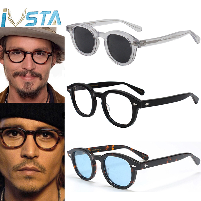 Óculos de Acetato Prescrição de Marca de Luxo Ivsta Johnny Depp Óculos Homens Handmade Quadro Polarizados Rodada Óptico Miopia Logotipo