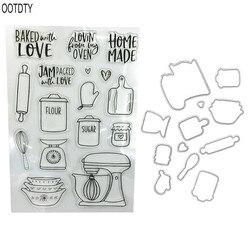 Küche ware Klar Briefmarken Dichtung + Schneiden Stirbt Stencil Set DIY Scrapbooking