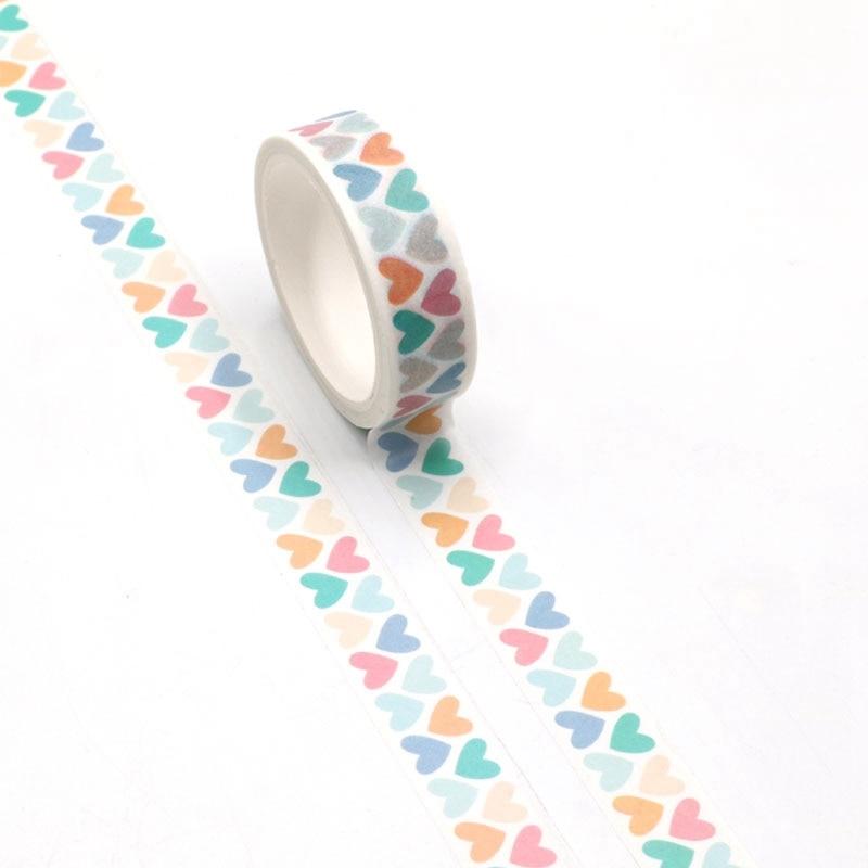 NEW 1pc Cute Colorful Hearts Valentine Washi Tape Kawaii Scrapbooking Tool Adhesive Masking Tape Photo Album Diy Decorative Tape