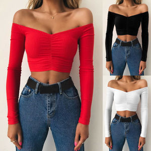Corset Long Sleeve Off Shoulder T-shirt Women Sexy Casual Autumn Pullover Cropped Tube Top Base Tee Shirt Slim Fit Jersey Tops