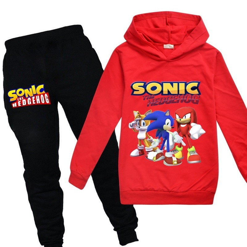 Toddler Tracksuit Autumn Baby Clothing Sets Children Boys Girls Sonic The Hedgehog Clothes Kids Hooded T-shirt Pants 2 Pcs Suits