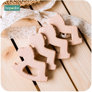 Bopoobo 10pc Baby Toys Wooden Horse Beech Wood Can Chew Teething Accessories Toys For Newborns Baby Wooden Rattles Tiny Rod Baby