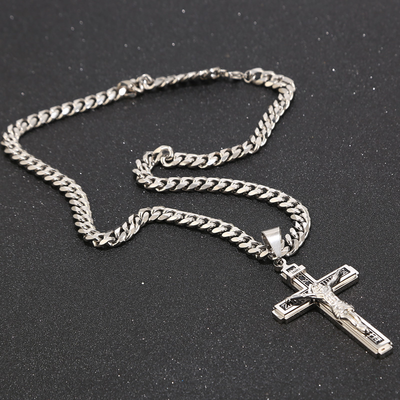 """Stainless Steel Crucifix Jesus Cross Necklace Pendant Multilayer Jesus Christ Crucifix Necklaces with 24"""" Chain Top Quality"""