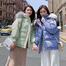 NEEDBO Down Coat Winter Oversize Fur Collar Womens Down Jackets ultra Light women Down Jacket Hood Winter Jacket Coat Down недорого