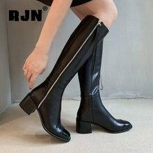 Rjn женская зимняя обувь высокие сапоги на каблуке базовые Лоскутные