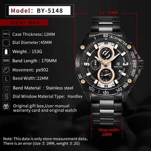 Image 4 - BENYAR męskie zegarki kwarcowe Top marka luksusowy zegarek człowiek stal wodoodporny Sport mężczyzna zegarek chronograf Relogio Masculino 2019