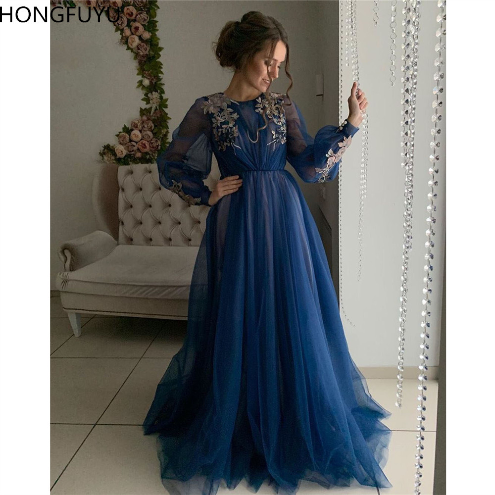HONGFUYU A-Line Blue O-neck Long   Evening     Dress   Tulle Appliques Long Sleeve Prom Party Gowns with Sashes Formal   Dresses   Elegant