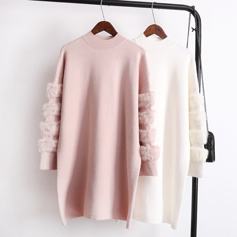 Mooirue Women Kitting Sweater Loose Casual Plush Stitching O Neck Long Sleeve Pullovers Solid Harajuku Korean Style Tops