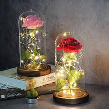 Dropshipping Mothers Day Gift Beauty And The Beast Red Galaxy Rose In A Glass Dome With LED Light Valentine's Christmas Day Gift