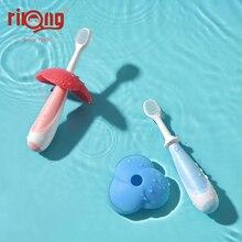 Rikang 2 pçs bebê escova de dentes artigos do bebê recém nascido proteção escova de dentes de silicone do bebê clareamento de dentes itens frete grátis