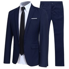 Wedding Groom Suit Blazers Jacket--Pants Two-Piece-Suits Business Navy-Blue Formal Black