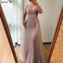 두바이 v 목 긴 소매 이브닝 드레스 2020 여성을위한 인어 크리스탈 구슬 럭셔리 공식 드레스 고요한 힐 LA70433