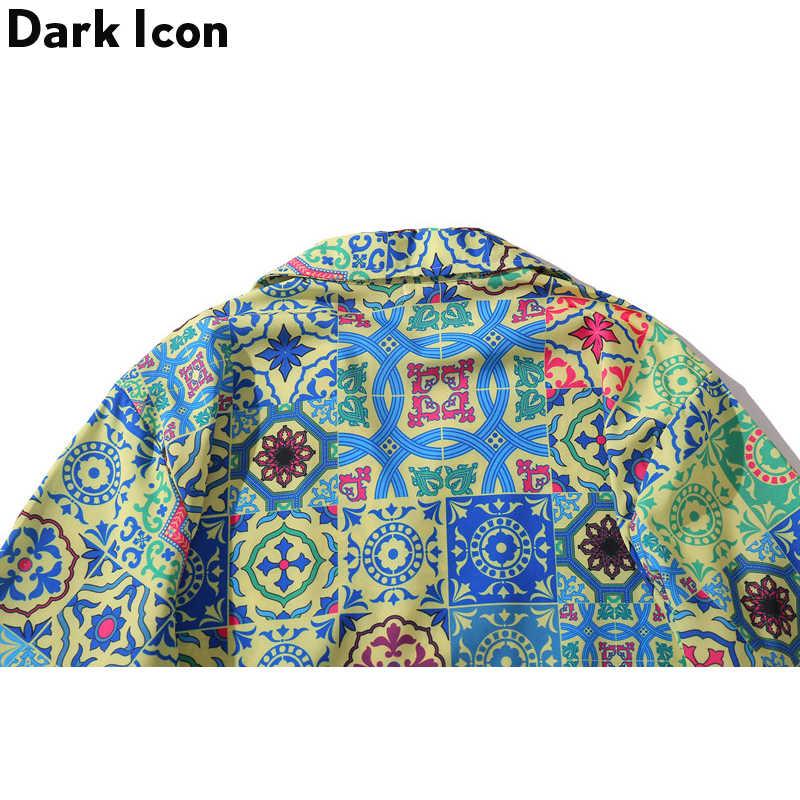 Dark Icon Hawaiian Retro Shirts Kurzarm 2020 Sommer Barock Männer Hemd der Männer Party Club Casua Hemd